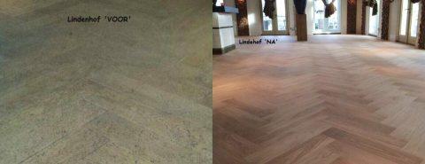 Visgraatvloer geschuurd bij Grand Café De Lindenhof