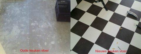 Nieuwe geblokte PVC vloer in de keuken